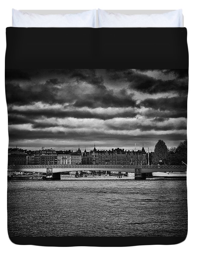 Landscape Duvet Cover featuring the photograph Stockholm In Black And White by Ramon Martinez