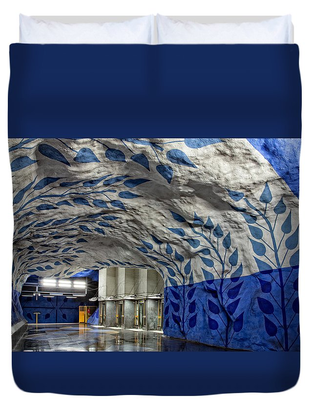 Architecture Duvet Cover featuring the photograph Stockholm Metro Art Collection - 002 by Kevin Cho