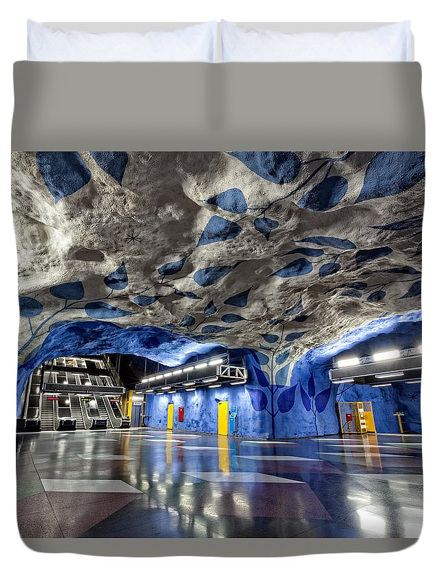 Architecture Duvet Cover featuring the photograph Stockholm Metro Art Collection - 003 by Kevin Cho