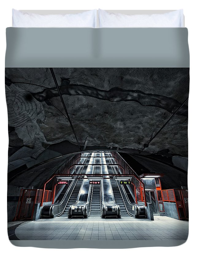 Architecture Duvet Cover featuring the photograph Stockholm Metro Art Collection - 007 by Kevin Cho