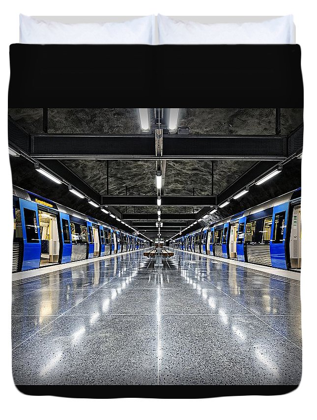 Architecture Duvet Cover featuring the photograph Stockholm Metro Art Collection - 008 by Kevin Cho