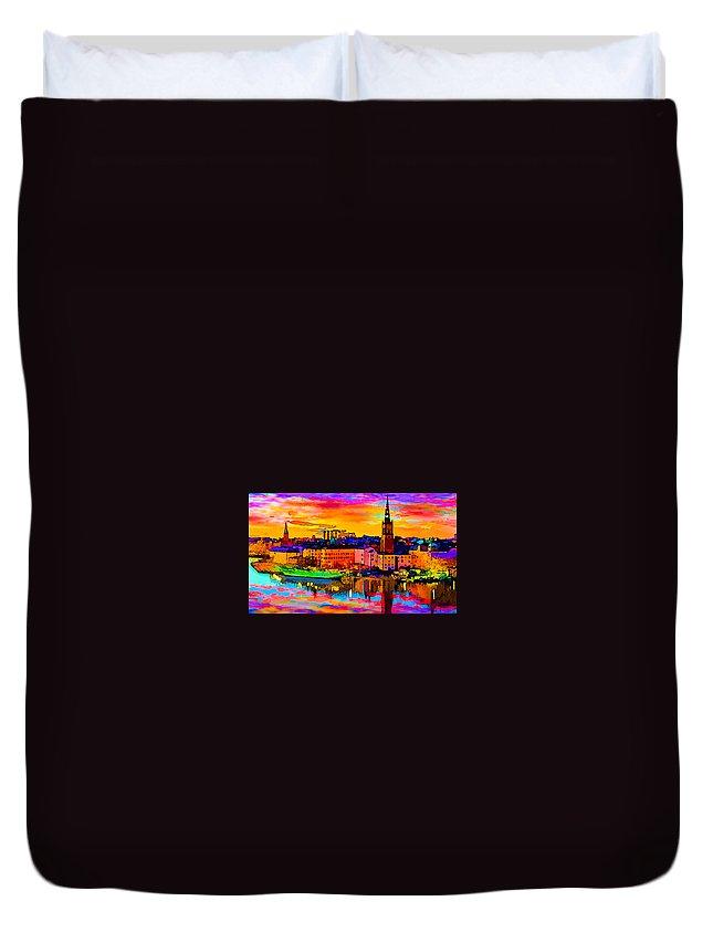 World's Duvet Cover featuring the digital art Stockholm Reflective Art by Ron Fleishman