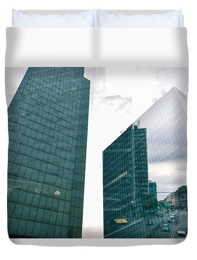 Architecture Duvet Cover featuring the photograph Stockholm Skyscrapers by Marcus Karlsson Sall
