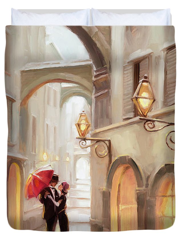 Love Duvet Cover featuring the painting Stolen Kiss by Steve Henderson