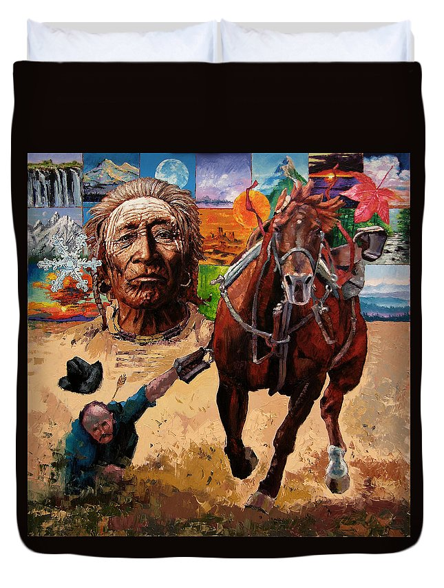 American Indian Duvet Cover featuring the painting Stolen Land by John Lautermilch