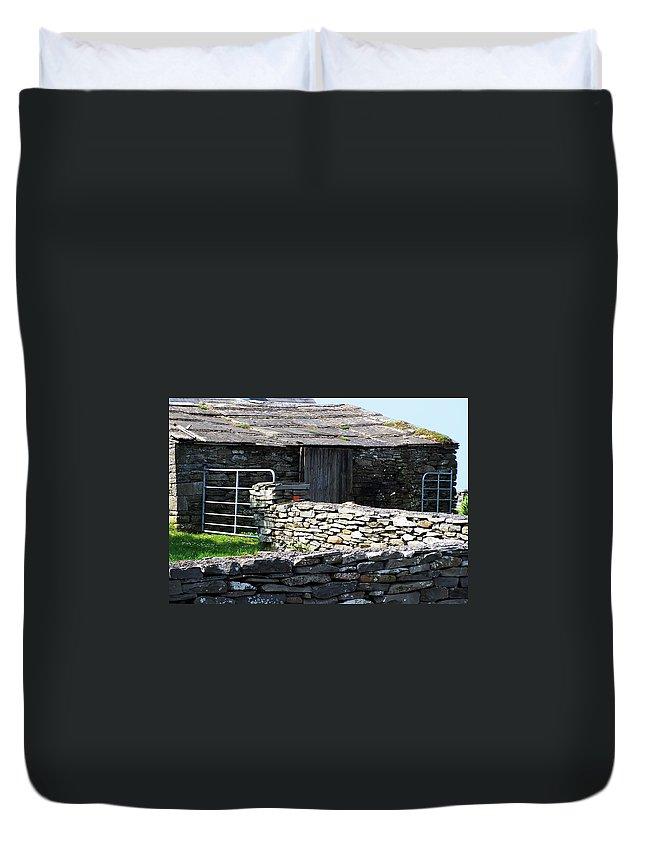 Irish Duvet Cover featuring the photograph Stone Barn Doolin Ireland by Teresa Mucha