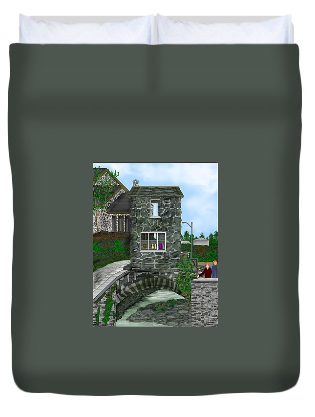 Landscape Duvet Cover featuring the painting Stone Bridge House In The Uk by Anne Norskog