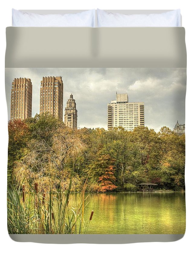 New York Duvet Cover featuring the photograph stone bridge in Central Park by Geraldine Scull