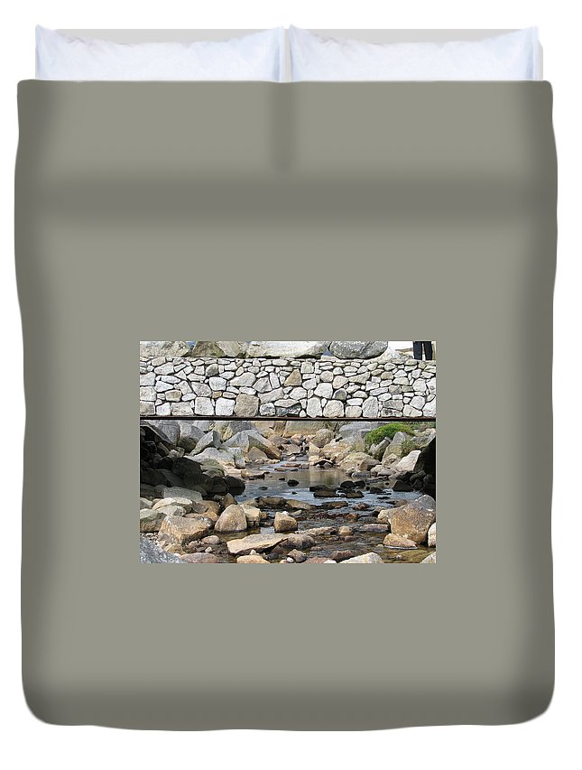 Stone Duvet Cover featuring the photograph Stone Bridge by Kelly Mezzapelle