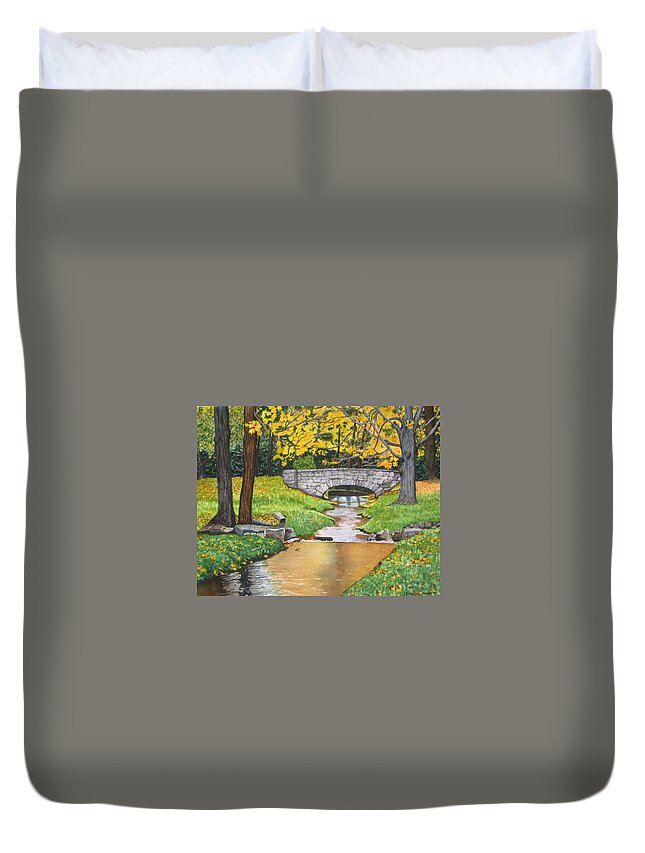 Landscape Duvet Cover featuring the painting Stone Bridge by Sharon Farber