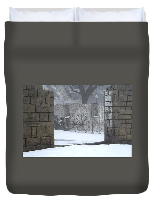 Winter Duvet Cover featuring the photograph Stone Cellar by Tim Nyberg
