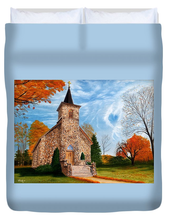 Peaceful Duvet Cover featuring the painting Stone Church by Vicky Path