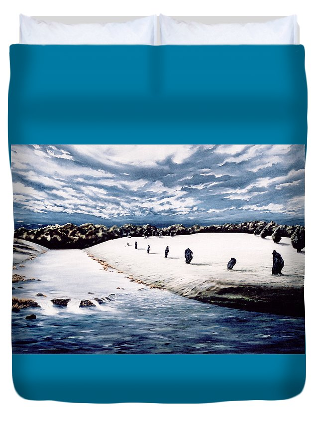 Stoneage Duvet Cover featuring the painting Stone Delusion by Mark Cawood