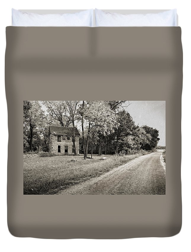 Stone Duvet Cover featuring the photograph Stone House Road by Eric Benjamin