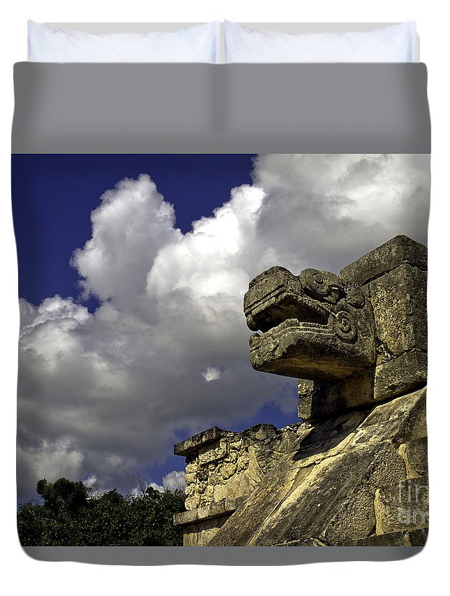 Chichen Itza Duvet Cover featuring the photograph Stone Sky And Clouds by Ken Frischkorn