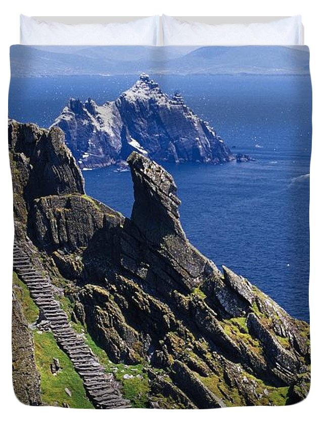 Coastal Duvet Cover featuring the photograph Stone Stairway, Skellig Michael by Gareth McCormack