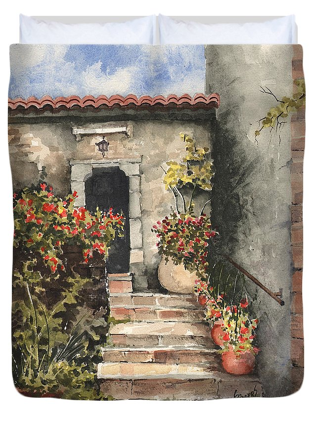 Steps Duvet Cover featuring the painting Stone Steps by Sam Sidders