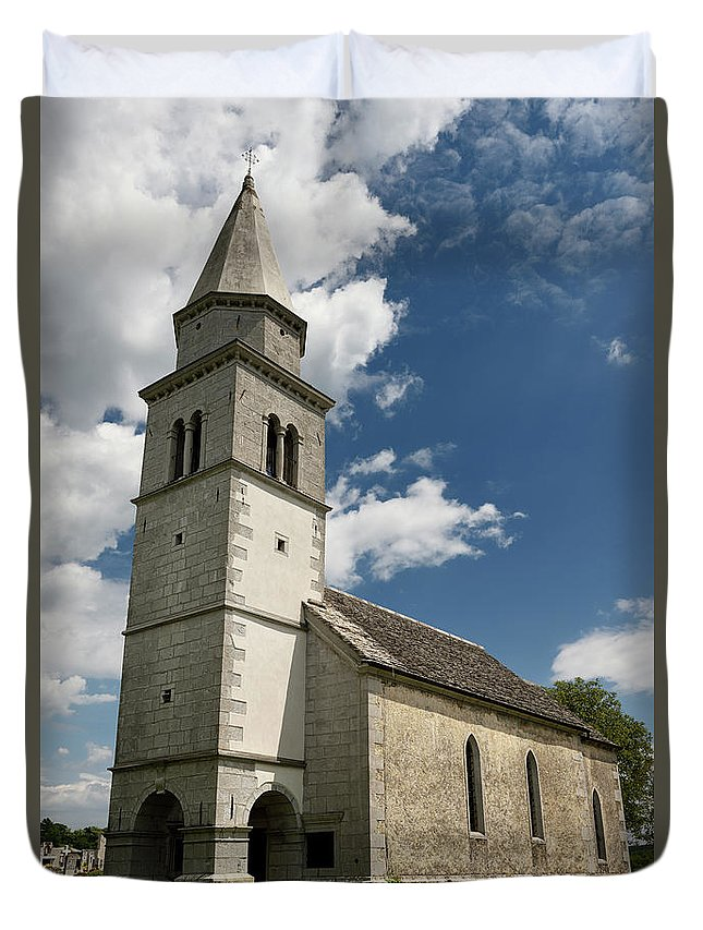 Stone Duvet Cover featuring the photograph Stone Tile Roof Of The Church Of The Holy Cross In Tomaj Parish by Reimar Gaertner