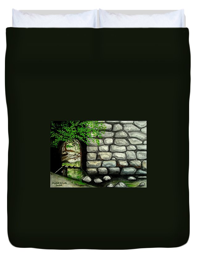 Landscape Duvet Cover featuring the painting Stone Tunnel by Elizabeth Robinette Tyndall