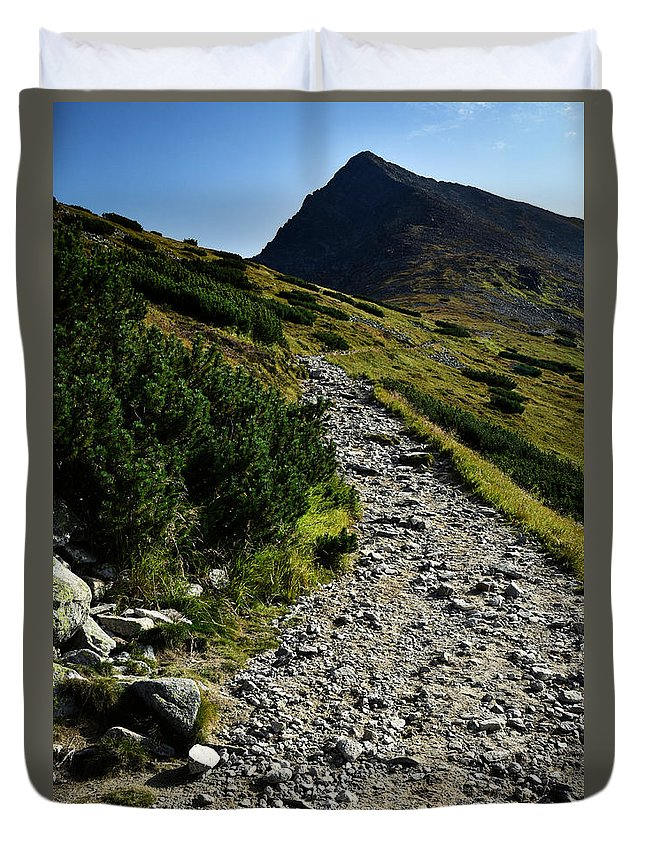 Seasonal Duvet Cover featuring the photograph Stone Walkway Towards The Pointed Peak by Jozef Jankola