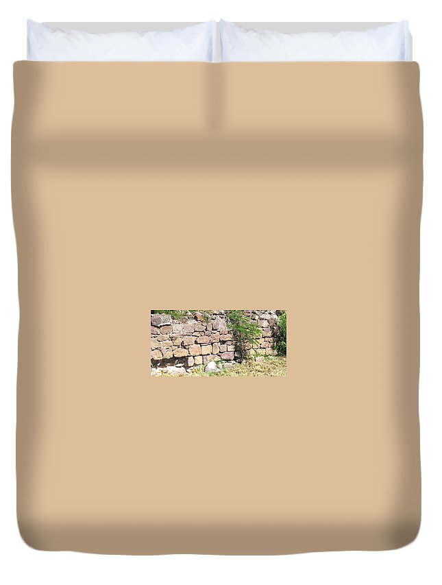 Stone Wall Duvet Cover featuring the photograph Stone Wall by Ian MacDonald