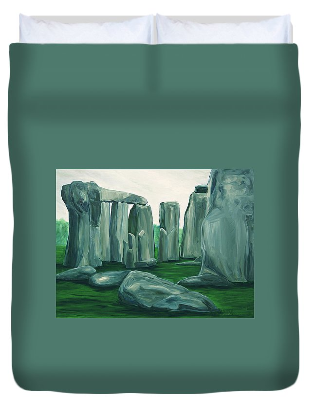 Stonehenge Duvet Cover featuring the painting Stonehenge In Spring by Jennifer Christenson