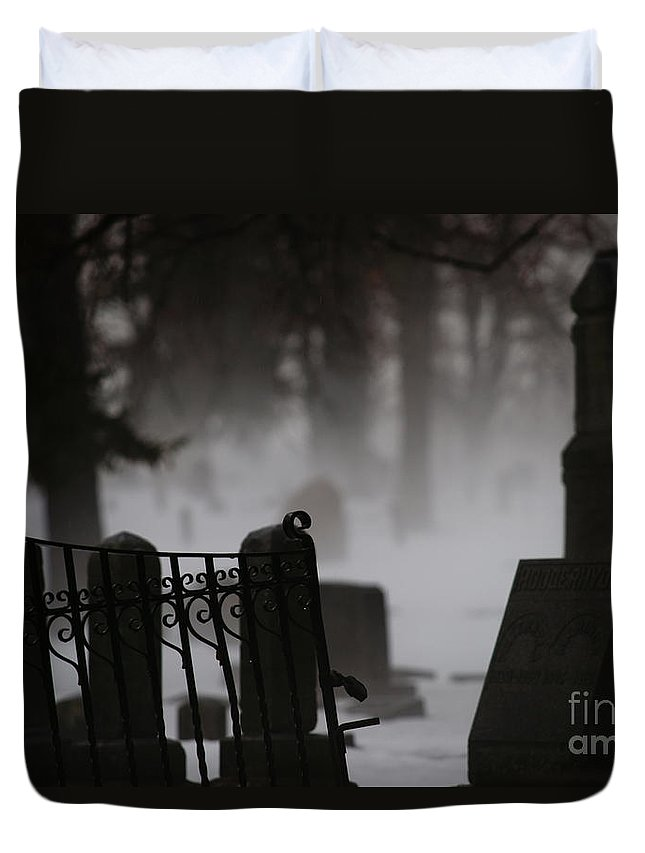Cemetery Duvet Cover featuring the photograph Stones by Linda Shafer