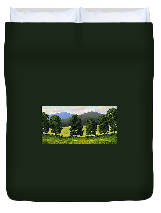 Landscape Duvet Cover featuring the painting Stonewall Field by Frank Wilson