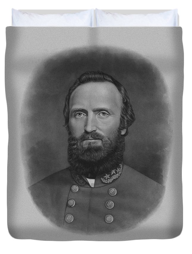 Stonewall Jackson Duvet Cover featuring the drawing Stonewall Jackson by War Is Hell Store