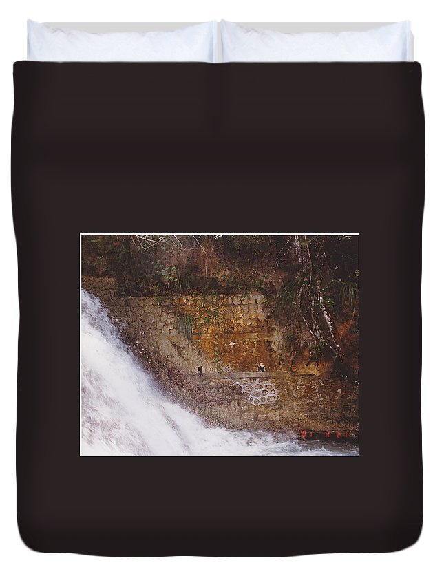 Brick Duvet Cover featuring the photograph Stonewall by Michelle Powell