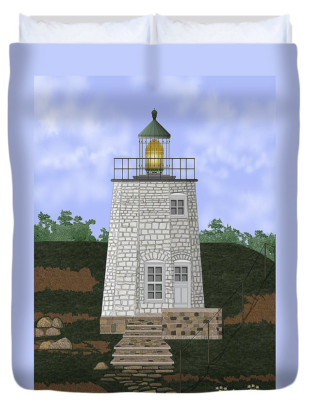 Lighthouse Duvet Cover featuring the painting Stony Point On The Hudson River New York by Anne Norskog