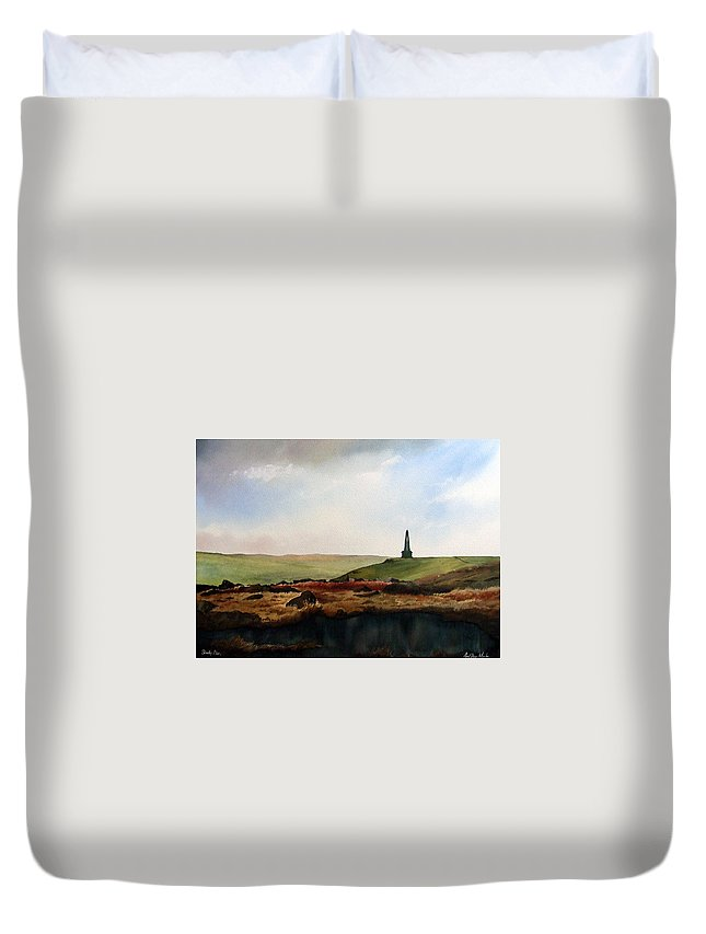 Landscape Duvet Cover featuring the painting Stoodley Pike by Paul Dene Marlor
