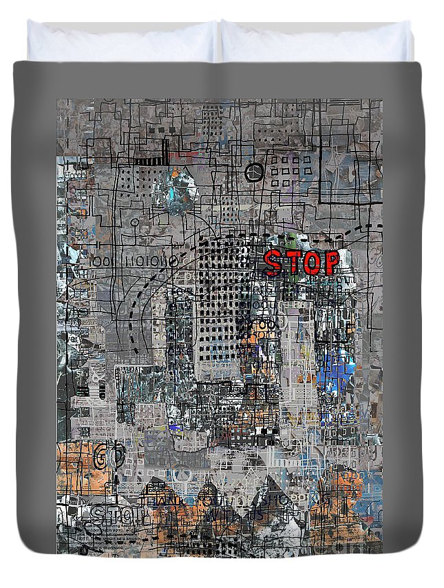City Duvet Cover featuring the digital art Stop Again by Andy Mercer