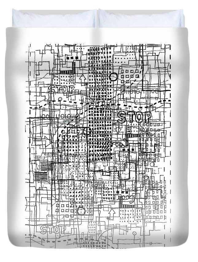 City Duvet Cover featuring the digital art Stop by Andy Mercer