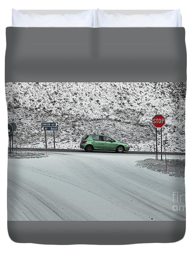 Roads Duvet Cover featuring the photograph Stop by Esko Lindell