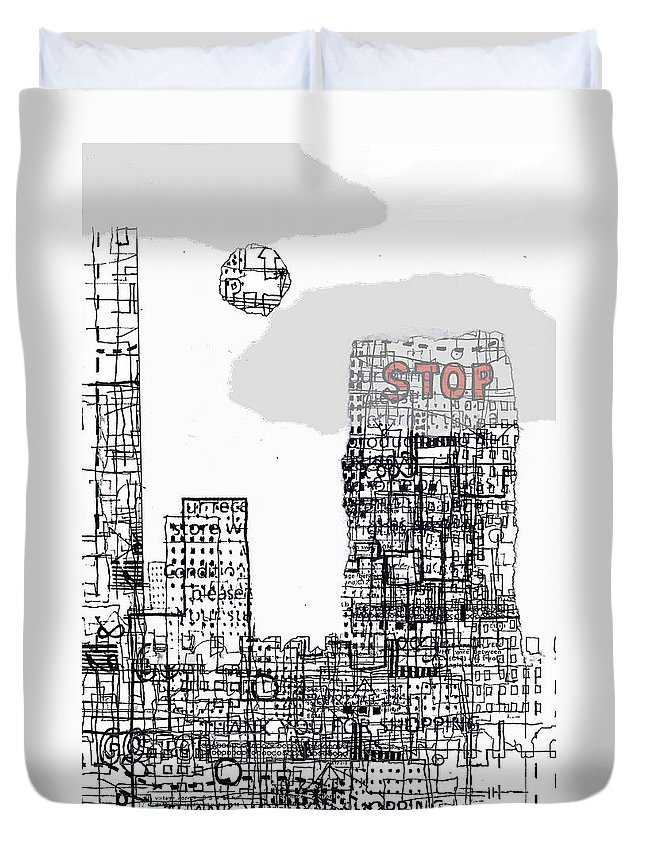 City Duvet Cover featuring the digital art Stop II by Andy Mercer