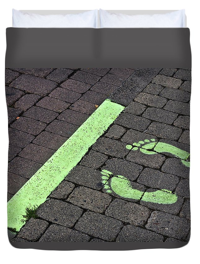 Heiko Duvet Cover featuring the photograph Stop Line by Heiko Koehrer-Wagner