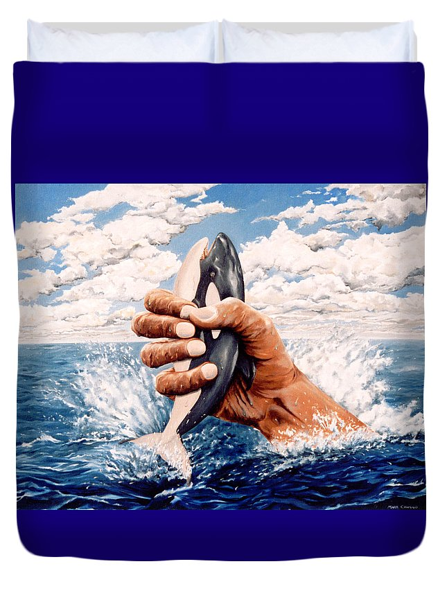 Surreal Duvet Cover featuring the painting Stop Whaling by Mark Cawood