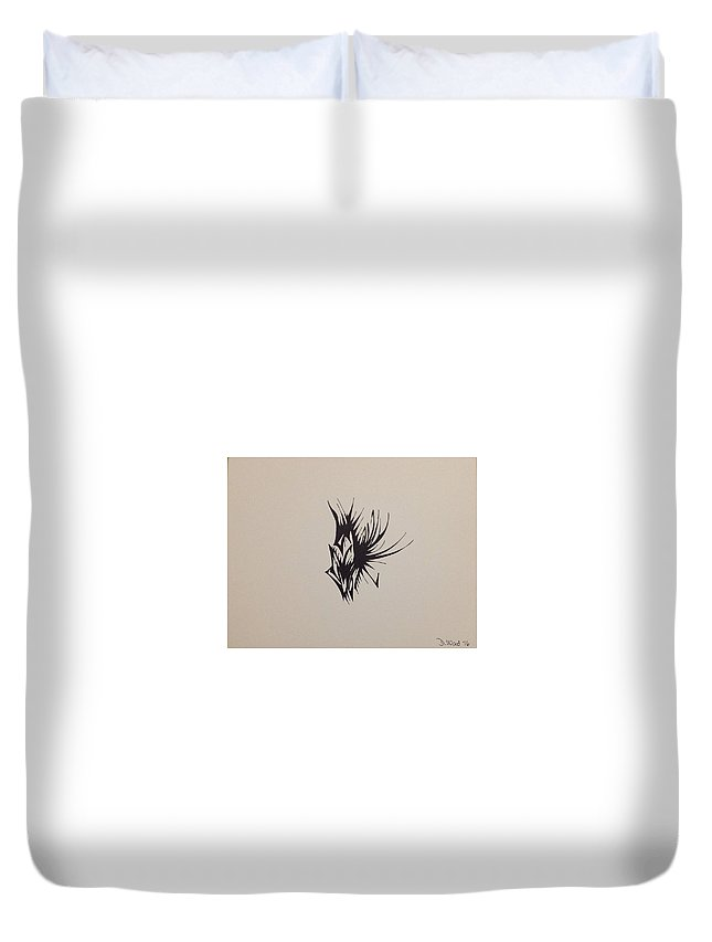 Abstract Duvet Cover featuring the drawing Insect On Flower by D Wood