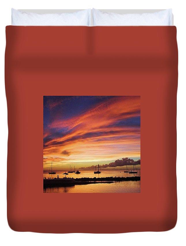 Trinidadandtobago Duvet Cover featuring the photograph Store Bay, Tobago At Sunset #view by John Edwards