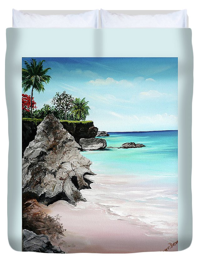 Tropical Beach Painting Duvet Cover featuring the painting Store Bay Tobago by Karin Dawn Kelshall- Best