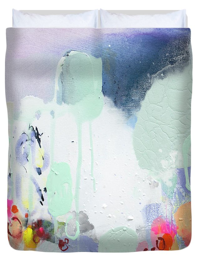 Abstract Duvet Cover featuring the painting Stories by Claire Desjardins