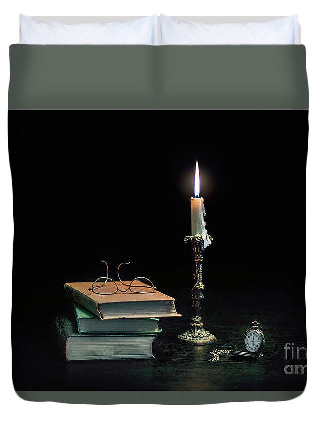 Kremsdorf Duvet Cover featuring the photograph Stories In The Dark by Evelina Kremsdorf