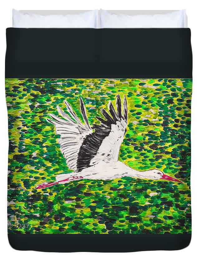 Stork Duvet Cover featuring the painting Stork In Flight by Valerie Ornstein