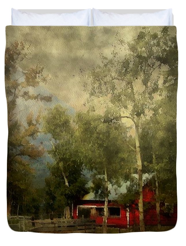 Landscape Duvet Cover featuring the painting Storm Approaching White Birch Cottage by RC DeWinter