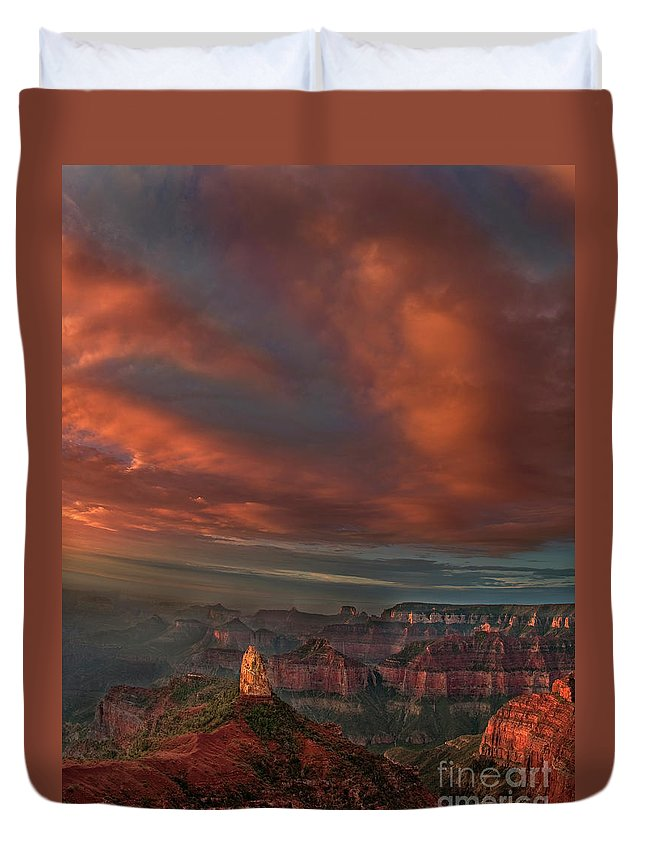 Dave Welling Duvet Cover featuring the photograph Storm At Sunrise Point Imperial Grand Canyon National Park Arizona by Dave Welling