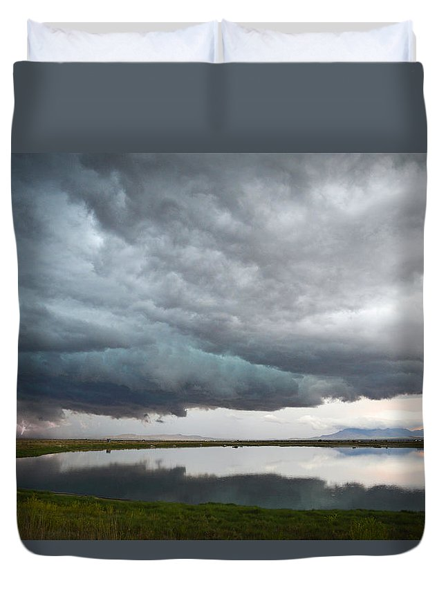 Lightening Duvet Cover featuring the photograph Storm Brewing by Brent Hall