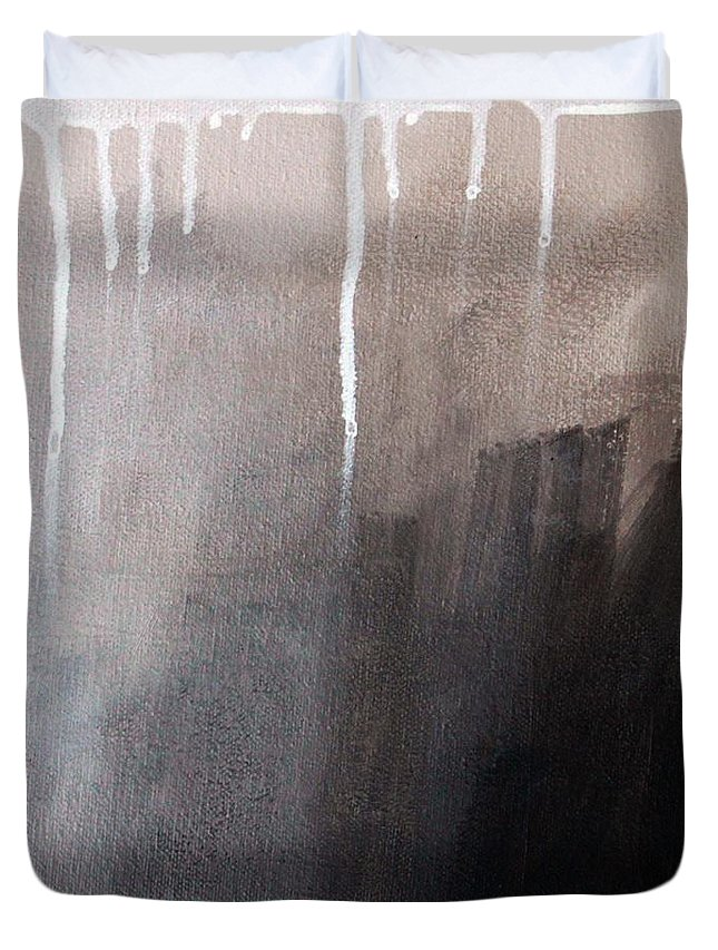 Abstract Duvet Cover featuring the mixed media Storm Brewing by Linda Woods