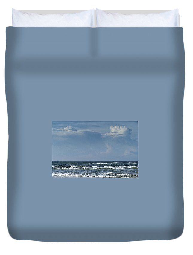 Ocean Duvet Cover featuring the photograph Storm Clouds On The Horizon Ocean Isle North Carolina by Teresa Mucha