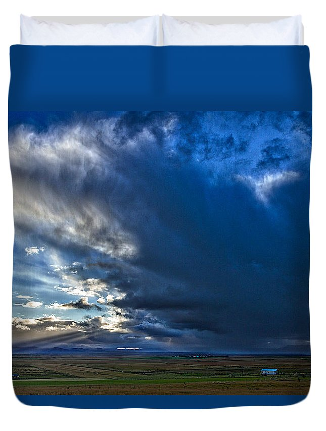 Iceland Duvet Cover featuring the photograph Storm Clouds Over Farmland #2 - Iceland by Stuart Litoff